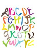 Colorful Squiggle Vector Fonts - stock illustration