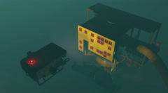 ROV adjusting underwater oil and gas equipment, 3D animation Stock Footage