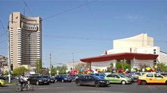 Rush Hour In University Square Downtown Of Bucharest Stock Footage