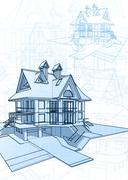 Architecture design: blueprint 3d house, plan - vector illustration Stock Illustration