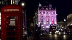 ULTRA HD 4K Timelapse traffic red bus Piccadilly Circus night London red cabin  Stock Footage