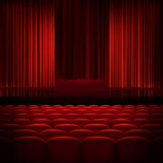 Open theater red curtains. EPS 10 Stock Illustration
