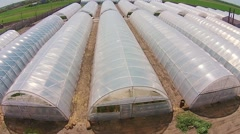 Greenhouses from the air Stock Footage