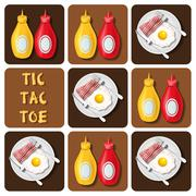 Tic-Tac-Toe of bacon and fried egg and seasoning - stock illustration