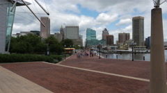 People Walking by Baltimore Maryland Time Lapse Harbor Stock Footage