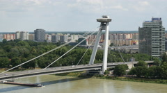 Time lapse from the Most SNP or UFO Bridge in Bratislava Slovakia Stock Footage
