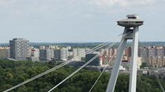 The top of the Most SNP or UFO Bridge in Bratislava Slovakia Stock Footage