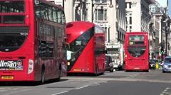 ULTRA HD 4K Heavy traffic Oxford street London transportation people commute bus Stock Footage