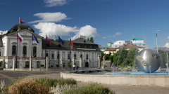 Water Fountain and The Presidents (or Grassalkovich) palace in Bratislava Stock Footage