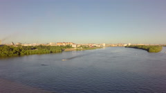 Right bank of Irtysh River in the city center Stock Footage