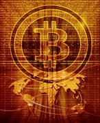 digital abstract background with bitcoin symbol and world map - stock illustration