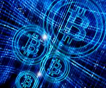 digital abstract background with bitcoin symbol - stock illustration