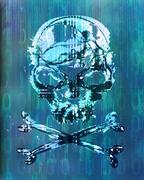 Hacker attack with skull background Stock Illustration