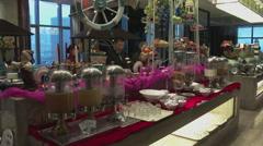 Breakfast buffet in Chinese hotel Stock Footage