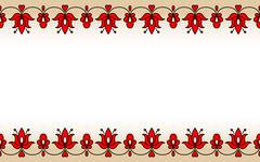 Seamless band with red traditional Hungarian floral motives - stock illustration