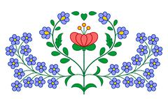 Hungarian embroidery floral decoration Stock Illustration