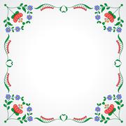 Hungarian embroidery frame with floral decoration - stock illustration