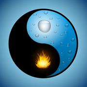 Yin Yang symbol with water and fire - stock illustration
