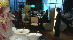 Chinese men breakfast in hotel Stock Footage