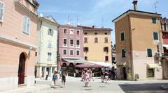 Tourists on street in Rovinj Stock Footage