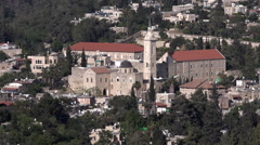 Aerial view of Ein Kerem village in Jerusalem, Israel Stock Footage
