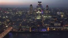 4K Beautiful London skyline Gherkin tower skyscraper traffic car bridge boat day Stock Footage