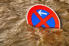 No parking in the flood, humorous scene - stock photo