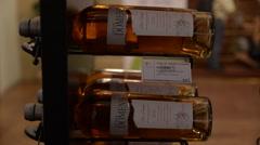 Bottles of Wine - Elegant Display - White Wine Stock Footage