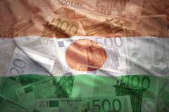colorful waving niger flag on a euro money background - stock photo