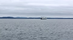 Pilot Boat Passing in Front of Ferry on Puget Sound Stock Footage