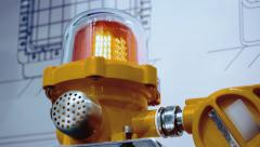 Stock Video Footage of Orange flashing light warns of abnormality situation on the production