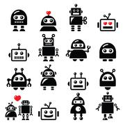 Male and female robot, Artificial Intelligence (AI) icons set Stock Illustration