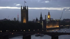 4K Aerial view Palace Westminster Big Ben Tower London landmark traffic car icon Stock Footage