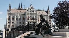 Statue of Attila Jozsef in Budapest Stock Footage