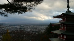 Mt. Fuji with fall colors in Japan for adv or others purpose use Stock Footage