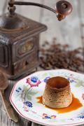 Stock Photo of Egg custard with coffee