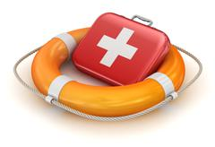 First Aid Kit in Lifebuoy Stock Illustration