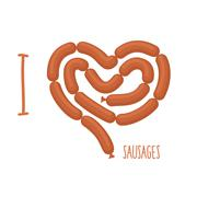 I love sausage. Sausages forming a heart. Delicacy for lovers of Wieners. Foo - stock illustration