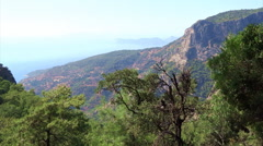 Panorama of coastline landscape of mediterranean sea turkey Stock Footage