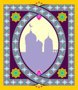 Traditional Oriental mosque frame. Arabic, Islamic pattern. Vector illustrati - stock illustration