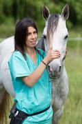 Veterinary on a farm - stock photo