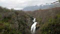 View of waterfall in San Martin de Los Andes National Park Stock Footage
