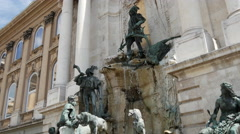 Fountain at Buda Castle in Budapest Hungary Stock Footage
