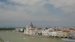 Skyline of Budapest from Buda Castle and Danube River Stock Footage