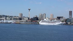Space Needle and Seattle Waterfront from the Water Stock Footage