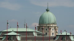 Close up Hungarian flags at Buda Castle in Budapest Stock Footage