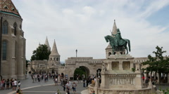 Time lapse from crowd at the Fisherman's Bastion in Budapest Hungary Stock Footage