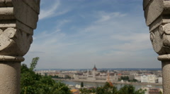 Pull focus from the Fisherman's Bastion in Budapest Hungary Stock Footage
