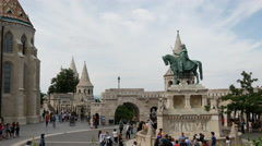 Crowd at the Fisherman's Bastion in Budapest Hungary Stock Footage