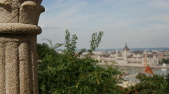 Pull focus from the Fisherman's Bastion to the Hungarian Parliament Building Stock Footage